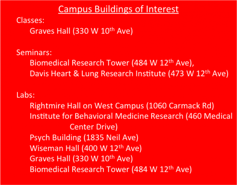 Campus buildings of interest to NGP students